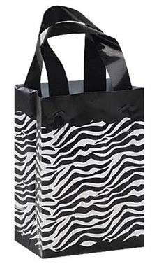 Small Frosted Plastic Zebra Print Shopper (25 Bags/Case) - STOR-92850