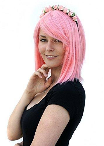 Prettyland peluca rosa larga media rosa rosa Naruto SAKURA esterilla antiestática antideslizante CA17