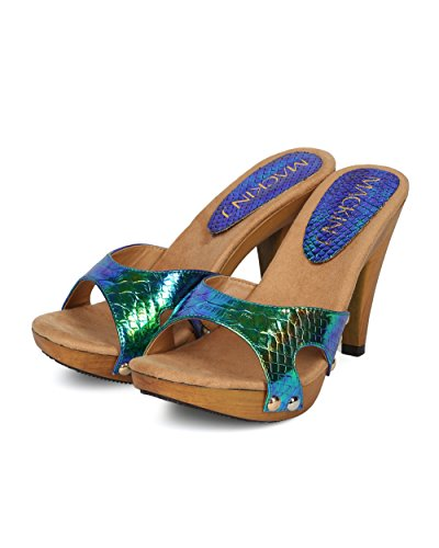 Open Sandal Out Collection Heel Snakeskin MackinJ Iridescent HH06 Mix Cut Media Peacock Women Toe Alrisco Green by YFxtqRwn