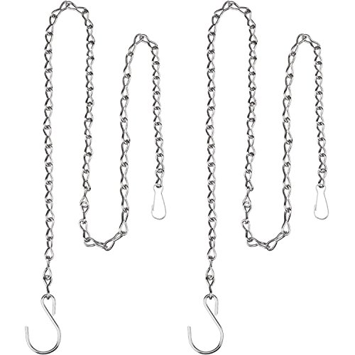 eBoot 2 Pack 35 Inch Hanging Chain for Bird Feeders, Planters, Lanterns and Ornaments (Silver Outdoor Hanging)