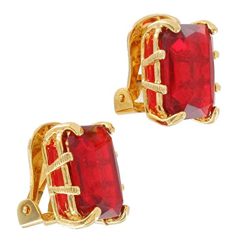 Octagon Jewels (Crystal Ruby Red Color Gold Tone Jewel Octagon Clip On Earrings USA Made Earrings For Women Set)