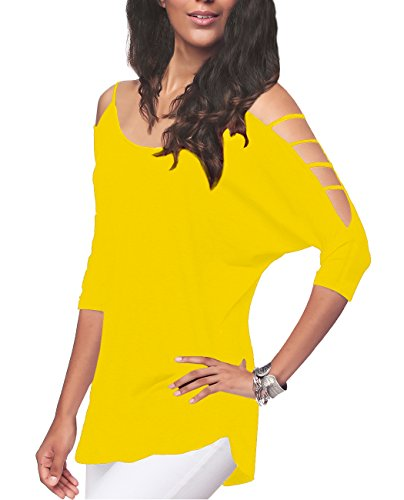 iGENJUN Women's Casual Loose Hollowed Out Shoulder Three Quarter Sleeve Shirts,XXL,Yellow