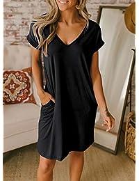 BTFBM - Vestido túnica de manga corta con cuello en V para mujer, color liso, casual, holgado, con dos bolsillos laterales