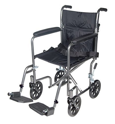 Drive Medical TR37E-SV Lightweight Steel Transport Wheelchair, Fixed Full Arms,17-Inch (Lightweight Wheelchair)