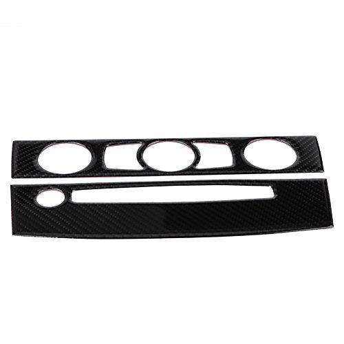 Qiilu Carbon Fiber Car Interior Front Air Conditioner Outlet CD Control Frame Cover Trim for BMW E60(04-07 C)