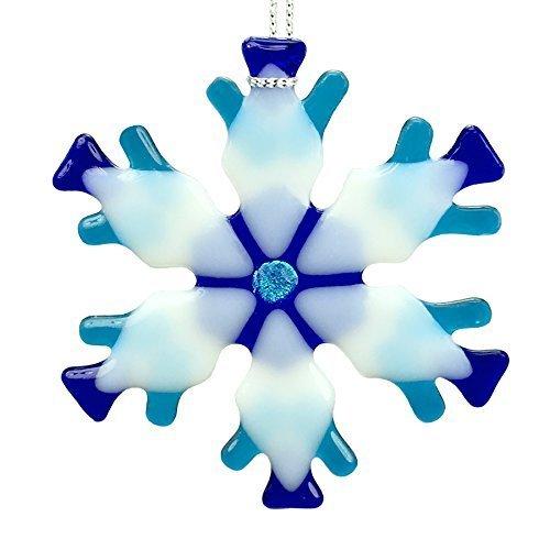 (Blue Mix Kiln Fired Glass Snowflake Ornament #1)