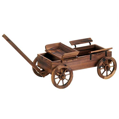 Cross Scented Candles Wooden Wagon Patio Planter Stand Theme Old Fashioned Horsed Drawn Buggy