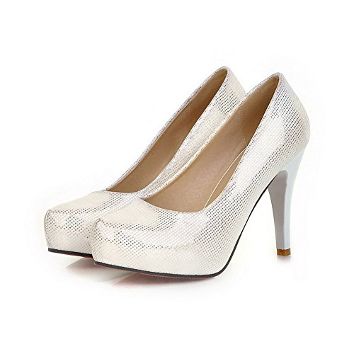VogueZone009 Womens Closed Round Toe High Heel Platform PU Printing Solid Pumps, Beige, 4.5 UK