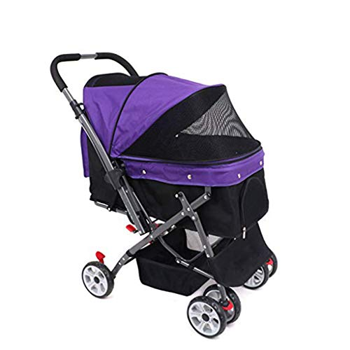 (YZONG 4 Wheel Dog Cat Pet Stroller,Reversible Handle Bar,Collapsible,Zipper Entry,360º Rotating Front Wheel,Stable Small,Medium,Large Dogs Cart,Purple)