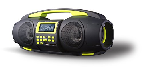 SDigital GB-3601 Fatboy Bluetooth-Boombox (UKW-Radio, MP3, USB, SD, USB-Ladefunktion, AUX-In) matt grau/lime/grün