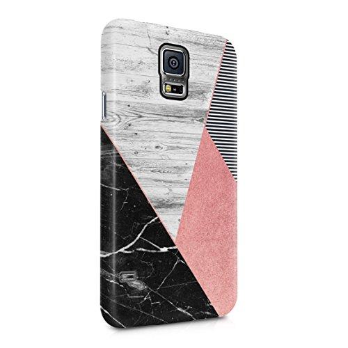 Black Marble & Rose Gold & Grey Wood Plank Blocks Hard Plastic Phone Case For Samsung Galaxy S5