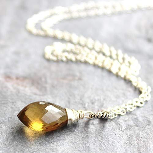 Honey Quartz Necklace Faceted Pointed Pendant 18 Inch Gemstone Briolette Sterling Silver