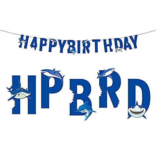 Shark Banner, Under the Sea Happy Birthday Banner Baby Girl Boy Birthday Party Decoration