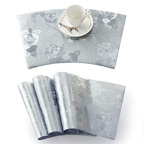 """OSVINO Set of 4 Floral Print Wedge-Shaped Mats for Round Table Waterproof Non-Slip Durable PVC Placemats, Light Silver, 18""""x12"""""""