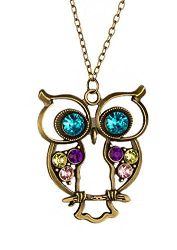 Mikiy Women's Fashion Retro Alloy Diamond Hollow Owl Necklace(Bronzed)