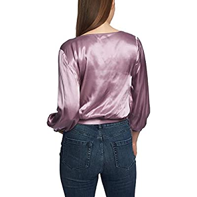 1.State Women's Long Sleeve Wrap Front Waisted Blouse at Amazon Women's Clothing store
