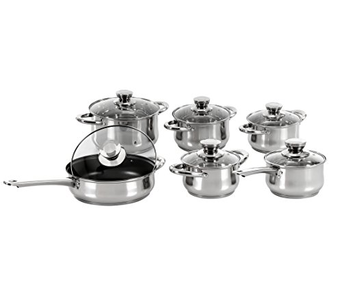 Concord Cookware SAS1120G 12-Piece 5-Layered Bottom Pot Pan Saute Cookware Set, 18 by 10-Inch, Stainless Steel