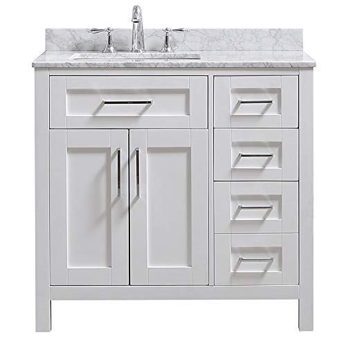 - Ove Decors Tahoe 36W Marble Top Single Bathroom Sink Vanity, 36-Inch by 21-Inch, White