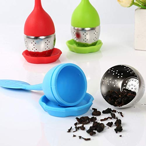 20pcs/lot Tea Strainer Sweet Leaf Silicone Tea Infuser Filter Teapot with Drop Tray Herbal Drinkware 7 Colors by TXT (Image #2)
