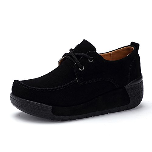 Stq Mujer Suede Platform Lace Up Zapatos Moda Ligero Cuñas Moccasin Work Sneakers Black
