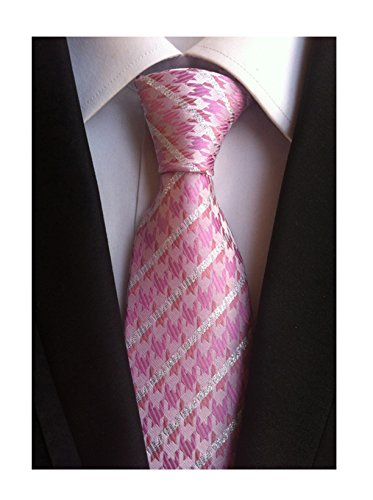 (Men Big Boy Pink Silver Houndstooth Striped Ties Unique Novelty Pattern Neckties)
