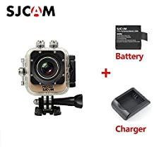 """SJCAM M10 WIFI Sports Action Camera Mini Waterproof Diving Camcorder DV 12MP 1080P Cube 1.5"""" LCD 170 Degree Wide Lens with Extra Battery Charger Original Gold"""