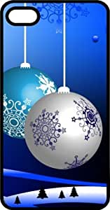 MMZ DIY PHONE CASEChristmas Ornaments Decorations With Snowflakes Black Plastic Case for Apple iphone 4/4s