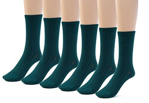 Silky Toes 6 Pk Bamboo Ribbed Boys Girls Crew Socks, Casual School Uniform Basic Socks (Small (7-8), Hunter (6 Pack))
