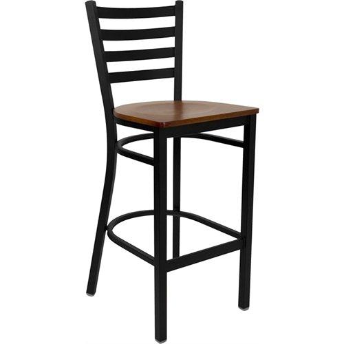 Flash Furniture HERCULES Series Black Ladder Back Metal Restaurant Barstool - Cherry Wood Seat -
