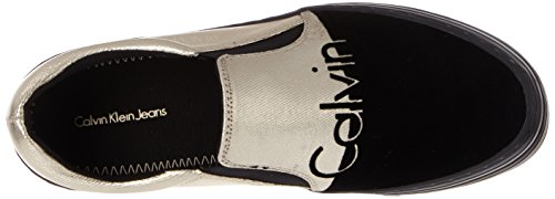 Canvas Zinah Women's Klein Top Multicolour Black Gold Slippers Flocking Low Metal Calvin IwxfE5dqw