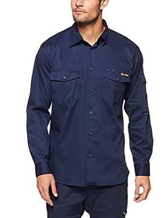 Tradie Men's LS Drill Shirt, Navy, Small