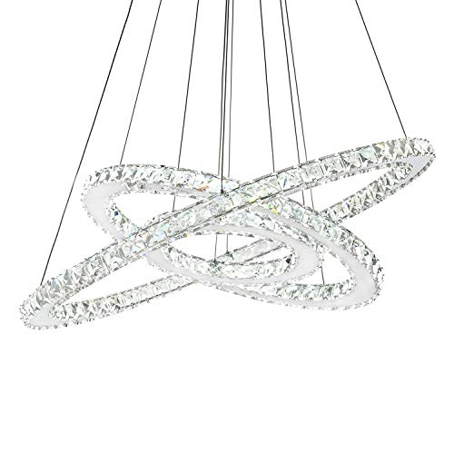 Siljoy Dimmable Three Rings Crystal Chandelier Ligiting (11.8-19.7 - 27.6 Inch) Galaxy Style K9 Crystal Ceiling Light Fixture Remote Control Dimmable LED Lighting Warm White/Daylight / Cool White