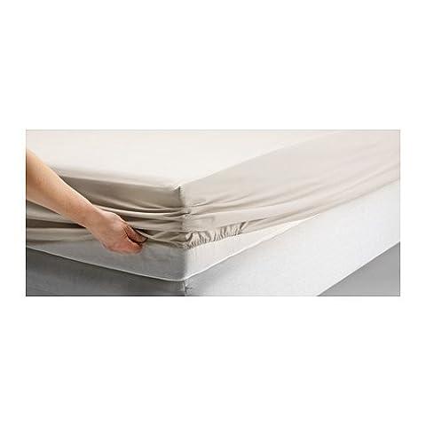 Ikea Dvala Beige Fitted Sheet 100% Cotton, Twin (Ikea Twin Bedding)