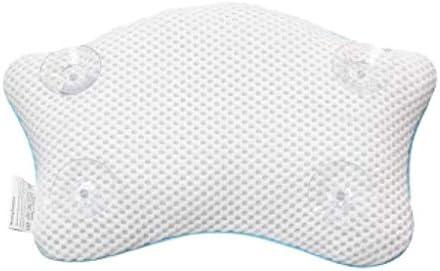 YQZQ 吸盤固定ノンスリップバスタブヘッドレストソフト防水バスタブ枕、通気性メッシュの保護バックの首と一緒にお風呂枕、
