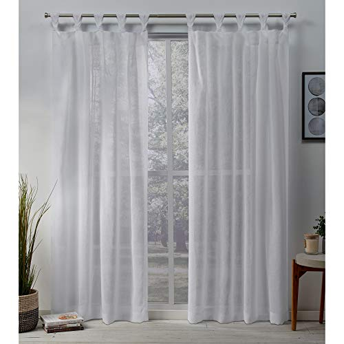 Exclusive Home Belgian Sheer Braided Tab Top Curtain Panel Pair, White, 50x96, 2 Piece