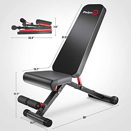 pelpo Weight Bench for Full Body Workout, Strength Training Bench Press in Home Gym, Decline Incline Adjustable Utility Weight Bench with Fast Folding