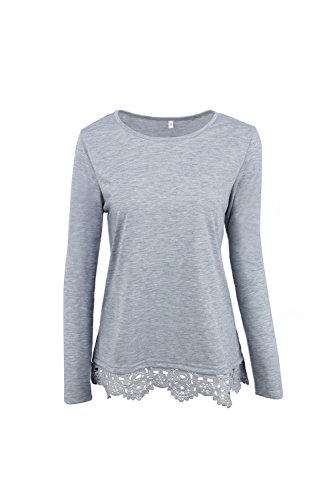 Mujeres Manga Larga Lace Patchwork Camiseta Jersey Tops Grey
