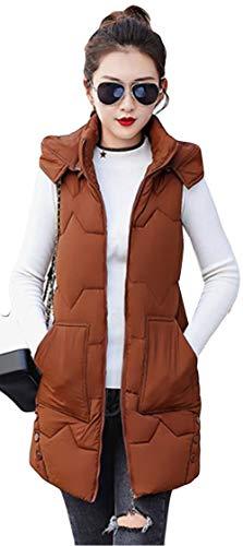 販売計画クマノミイディオムAlhyla レディース ダウンベスト レディース 秋 冬 ファッション 韓国風 ベスト 無地 フード付き ロングスベスト スリム 中綿ベスト