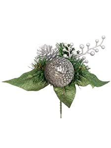 "7"" Sequin Ball Pine Pick Silver (Pack of 24)"