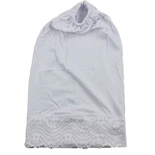 HYIRI Women's Muslim Stretch Turban Hat Shower Cap White ()