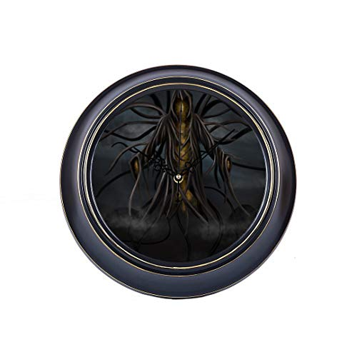 14 Inch Large Silent Non Ticking Wall Clock A Grim Reaper Spirit Hooded Evil Type Character Printing Round Quality Quartz Battery Operated Wall Decor Quiet Metal Clock For Home Office School Bedroom ()