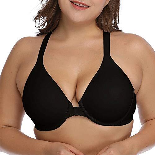 (Vogue's Secret Women's Sexy Front Closure Bra Plus Size Lace Racerback T-Back Bras 32 34 36 38 40 42 44 A B C D DD)