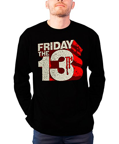 Friday The 13Th Long Sleeve T Shirt Block Logo Official Mens Black -
