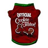 Mmrm Pet Dog Puppy Christmas Clothes Official Cookie Testen T Shirt Xmas Apparel (XS)