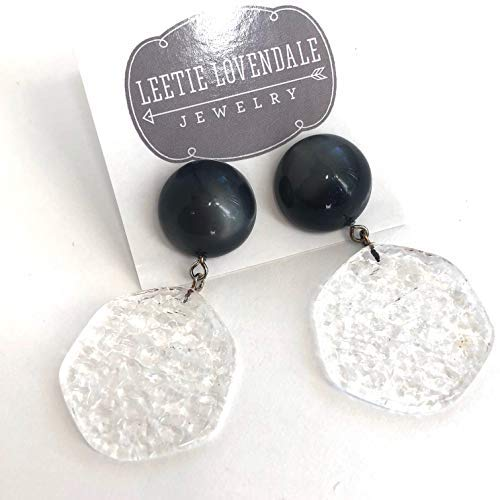 Grey /& Clear Stained Glass Vintage Lucite Statement Drop Earrings