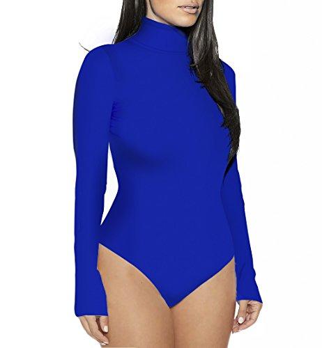 Sumtory Women's Basic Long Sleeve Mock Turtleneck Bodysuit Stretch Thong Leotard Blue S - Mock Turtleneck Leotard
