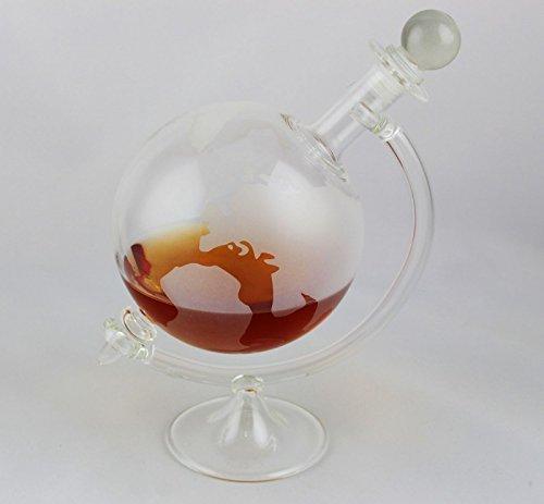 1 Botella de Vidrio Vacía Globo Jarra 750 ml con Pie de Vidrio Forma de Tierra para Rellenar Whisky Licor Aceite Vinagre 1 Unidad 22,5 cm slkfactoory: ...