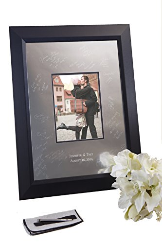 Signature Keepsakes Frame Engravable Signature Mat Guest Book, Medium, Silver/Black (Guest Personalized Platter Book)