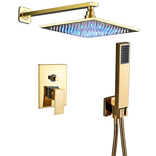 Senlesen Shower Systems Wall Mounted Shower Combo Set with 10 Inch LED Light Square Rain Shower Head and Handheld Shower Faucet Set Polished Gold
