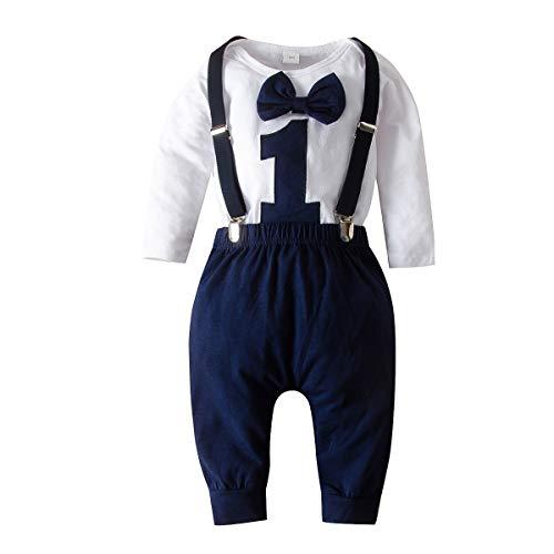 Haokaini Baby Boy Eerste Verjaardag Kleding Jongen Strikje Romper Romper Cake Smash Outfits
